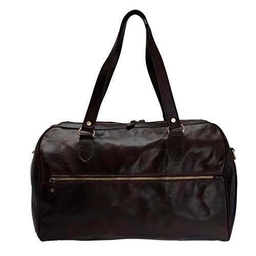 I Medici Firenze, borsone viaggio, duffle bag, borsone weekender in pelle, Made in Tuscany - Italy, 409 (T.moro lucido)