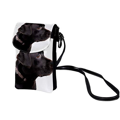 Xingruyun Kleine Umhängetasche Schwarzer Abrador Leder Handtasche Mini Handy Schultertasche Cross-Body Tasche Geldbörse Für Mädchen Frauen 19x12x2cm
