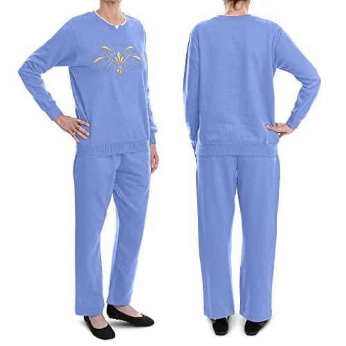 Pembrook Women's Embroidered Fleece Sweatsuit Set-L-Wedgewood Blue