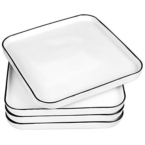 Eglaf 8#039#039 Ceramic Square Dinner Plates  Black Edge Porcelain Dish for Salad Pie Steak Pizza Pasta  Family Dining Party Entertain Guests Restaurant Serving Plates Set of 4