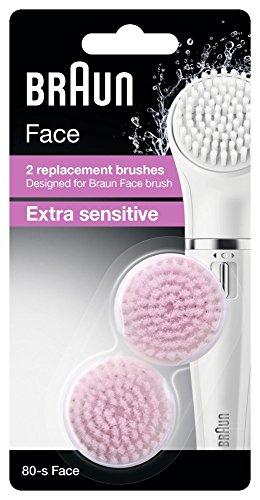 Braun Face Ersatzbürste Extra Sensitiv SE80-S, für Braun Gesichtsreinigungsgeräte, 2 Stück