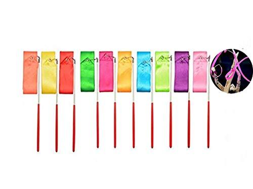 Regenbogen Band,10 pcs Rhythmische Streamer 2 Meter Gymnastic Ribbon mit rutschfest Stabinfür Kinder Künstlerische Tanzen Baton Twirling Gymnastik Ausbildung Fun Aktivitäten