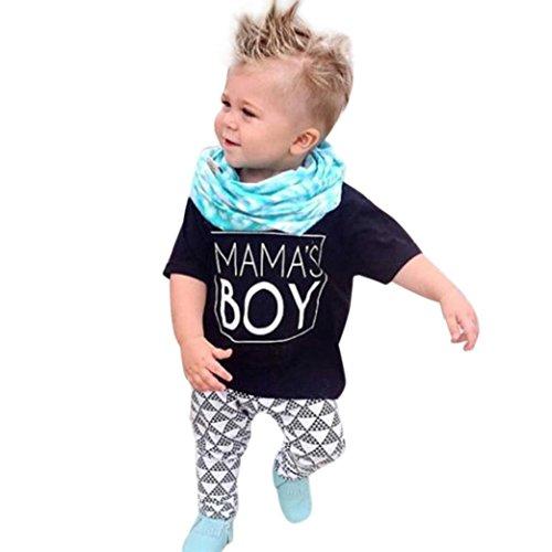 Staron Mama's Boy Letter Arrow Print Newborn Baby Clothes Set Tops Geometric Pants (18-24 Months, Black)