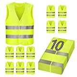 PRASACCO High Visibility Safety Vest 10 Packs, XXL, Reflective Silver Strip , High Visibility Vest Yellow, Washable, Wrinkle Free, for Outdoor Works, Cycling, Walking,Sports