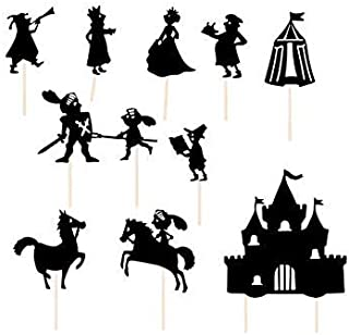 Moulin Roty Nighttime Shadows Stick Puppets - Medieval Knights / Les Chevaliers Set, 11 Pieces