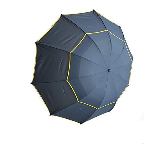 KOET Golfschirm 3 Faltschirm 130 cm mit doppeltem Dach, verstärktem Rahmen, rutschfester Griff, winddicht, Anti-UV / schnell trocknender Sonnenschutz & Regenschirm für 2 bis 3 Personen