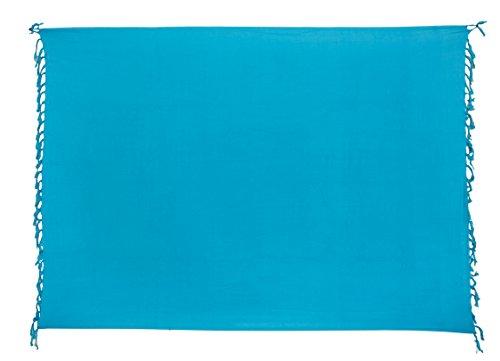 Ciffre Premium Sarong Pareo Wickelrock Strandtuch Lunghi Dhoti Schlicht Blickdicht Marine Blau Türkis