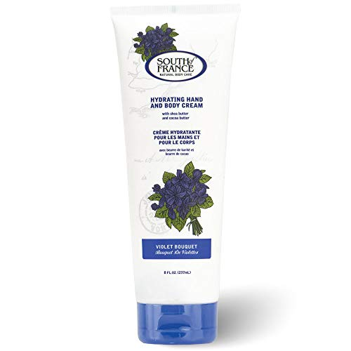 Hydrating Hand & Body Cream by South of France | Moisturizing for Dry & Cracked Skin | Shea Butter + Cocoa Butter | Violet Bouquet Scented Lotion for Women | 8 oz Tube