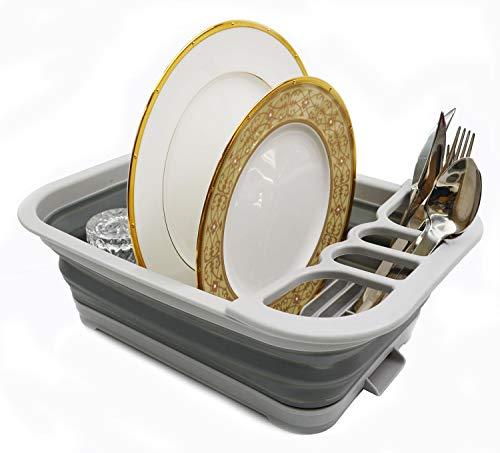 sammart plegable escurreplatos con escurridor Junta plegable escurreplatos–Set de vajilla de portátil organizador–ahorro de espacio de la cocina bandeja de almacenamiento