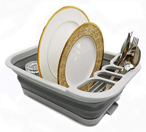 SAMMART Collapsible Dish Drainer with Drainer Board - Foldable...