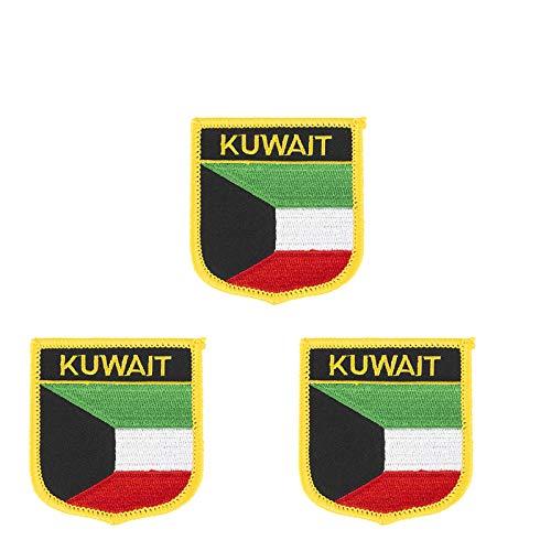 3 Stück Kuwait-Flagge bestickt Shiled Form Aufbügler Applikation Aufnähen