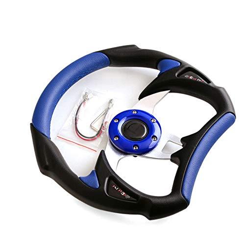 Universel Cuir PU type de voiture de course Auto volant Coutures Sport Bleu pour F1 JDM Excellent