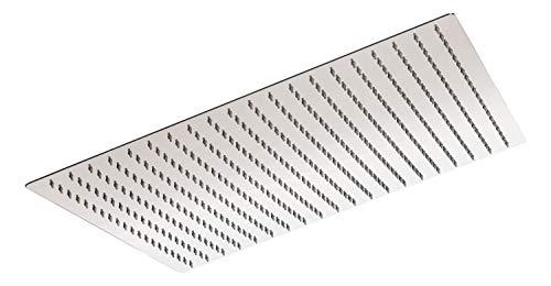 'aquaSu® Kopfbrause Offertio mit 1 Strahlart | eckig | chrom | 50 x 50 cm Sprayplatte | mit Kugelgelenk | Antikalk-Noppen | Standard-Gewinde: 1/2 | Wellness-Regendusche | 72278 0