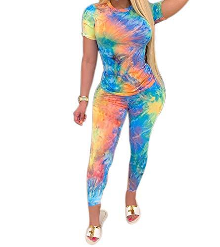 Conjunto casual de dos piezas para mujer con estampado de tinte de corbata multicolor de manga corta + conjunto de pantalones largos