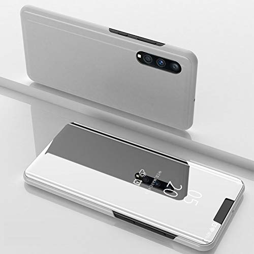 DWaybox Custodia for Galaxy A50 A50s A30s Clear View Mirror Flip Stand Hard Custodia Cover Compatible with Samsung Galaxy A50/A50s/A30s SM-A505 6.4 inch (Silver)