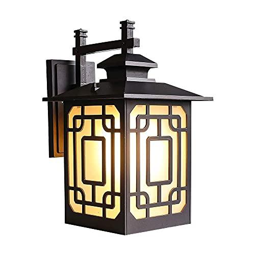 Luz de pared al aire libre a prueba de humedad clásica IP65 Lámpara de pared de aluminio exterior a prueba de agua a prueba de agua con lámpara de cristal escarchado E27 Base para balcón de villa