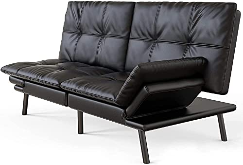 Futon Sofa Bed Convertible Sleeper Sofa Faux Leather Couch Daybed with Quick Adjustable Folding Armrests for Compact Living Spaces, Dorms, Guest Rooms, Apartments, Offices, Black