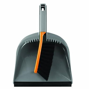 Casabella 1 Count Dustpan and Brush Set, Graphite/Orange