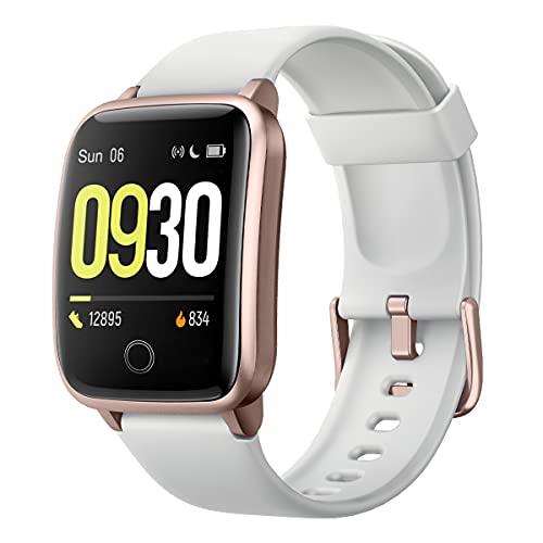 Willful Smart Watch for Men Women IP68 Waterproof, Fitness Tracker Heart Rate Monitor Sport Digital Watch, Smartwatch for Android Phones and iOS Phones Compatible iPhone Samsung (Gray-Gold)