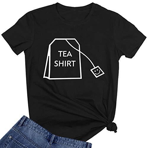 BLACKOO Teen Girl Funny T Shirts Women Cute Tops Junior Graphic Tee Black XX-Large