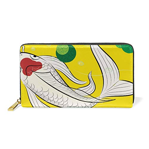 Art Japanese Koi Fishes Leather Womens Zipper Wallets Clutch Coin Case