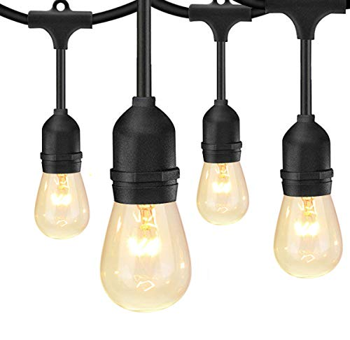 SUNTHIN 48FT Outdoor String Lights with 11W Dimmable Edison Bulbs for Decorative Backyard, Patio,...