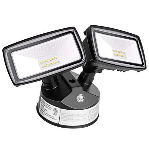 Amico Dusk to Dawn Light LED Outdoor Flood Lighting 20W LED Security Lights [180W Equivalent] 5000K IP65 Waterproof Dual Head