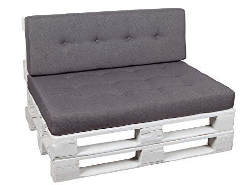 Palettenkissen Palettenauflagen Sitzkissen Rückenlehne Gesteppt PFG (Sitzkissen 120x60, Hellgrau)
