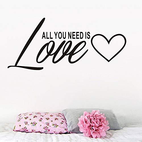 Wuyii Alles wat je nodig hebt, is liefde, muurtattoos, snoep, decoratie-label voor slaapkamer, muurkunst, klassiek, zwart, vinyl sticker, verwijderbaar, 59 x 26 cm