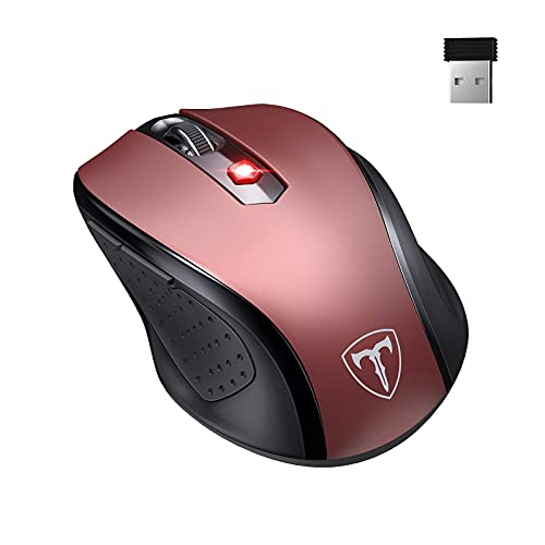 Ergo Wireless Mouse for Laptop,2.4G Mouse Ergonomic Computer Mouse with Finger Rest, 5 Adjustable DPI Levels,USB Receiver,2400DPI USB Mouse for Laptop PC Chromebook Notebook MacBook Computer,Red