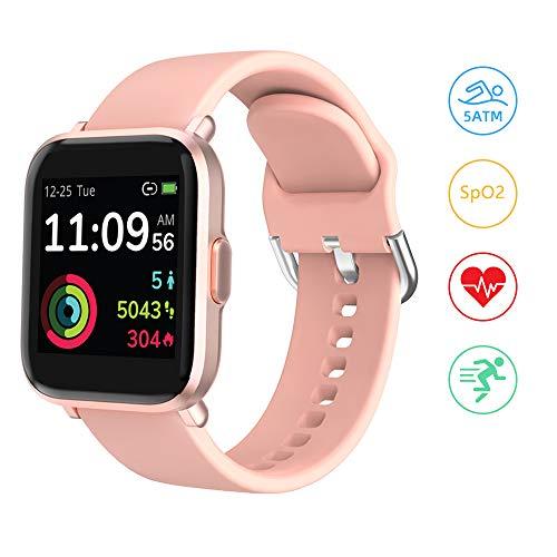 Smartwatch, YONMIG Fitness Uhr 18 Sportmodi Tracker 1.3 Zoll Touch-Farbdisplay Smart Watch Pulsoximeter Pulsuhr 5ATM Wasserdicht SportUhr Kompaß Schlafmonitor Stoppuhr für Damen