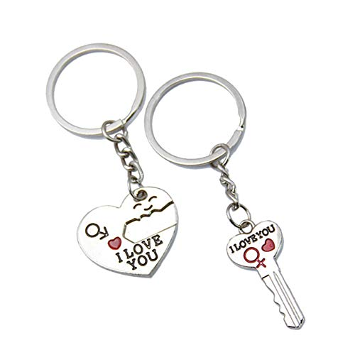 AchidistviQ Couple Keychain Gifts for Boyfriend and Girlfriend,2 Pcs Heart Shape Matching Couple Keychain Set for Him or Her Valentine's Day Birthday Gifts Silver