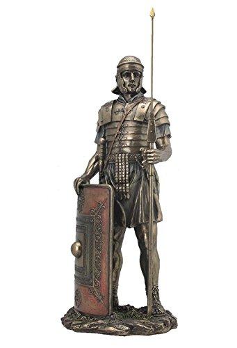 Statue, römischer Soldat mit Speer und Schild, 36,8 cm