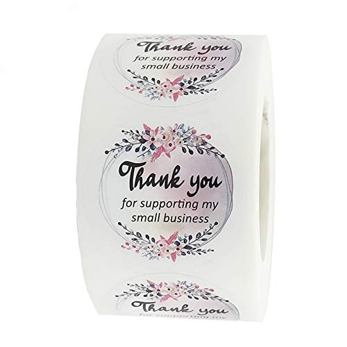 """1.5"""" Thank You Stickers Roll 1000 Pcs Waterproof Floral Thank You for Supporting My Small Business Labels   500 Thank You Stickers Per Roll for Small Business Owners (Pink Flower)"""