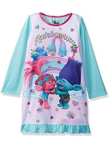 DreamWorks Trolls Poppy Girls Long Sleeve Nightgown Pajamas (6, Teal)