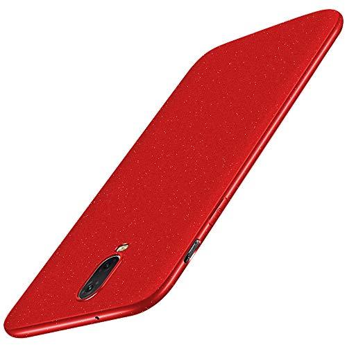 Baanuse OnePlus 6T Cover [Ultra Slim Soft TPU] [Sand Scrub Non-Slip] [Shockproof Armor] Custodia per OnePlus 6T Rosso