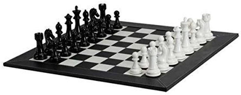hasta un 65% de descuento Deluxe Chessmen with with with Leatherette Chessboard, negro blanco by Getting Fit  todos los bienes son especiales