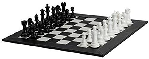 Deluxe Chessmen with Leatherette Chessboard, schwarz Weiß by Getting Fit