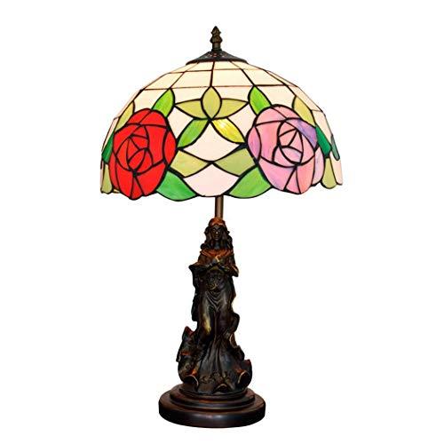 DIMPLEY Vintage Tiffany Lámparas de Mesa 12 Pulgadas, vitrales lámparas de artesanía Dormitorio Noche de Dos Tonos lámparas de Rosa lámpara de Escritorio