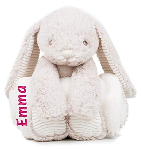 Peluche lapin couverture polaire avec prénom personnalisé brodé bébé
