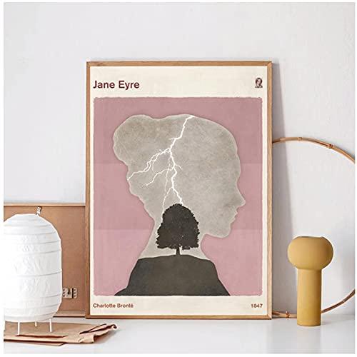 FACAIA Pôster de impressões literárias minimalistas da Charlotte Brontè Jane Eyre, pintura em tela, presentes, decoração de casa, 60 x 80 cm, sem moldura
