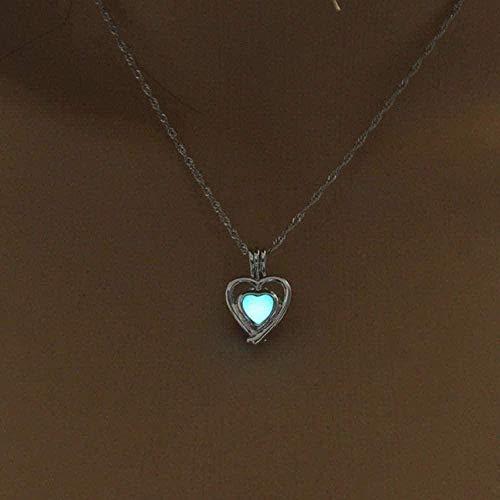 SHIERSHIYI Collar, Collar de Piedra Luminosa, Botella de Mujer, Que Brilla en la Oscuridad, Collar con Colgante, joyería chapada en Plata
