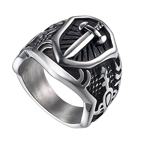DFWY Escudo Vikingo de Los Hombres Espada Anillo de Acero Inoxidable, Nórdico Retro Armadura Caballero Medieval Signet Ring, Vintage Amuleto Religión Protección Regalo de Joyería Pagana (Size : 11)
