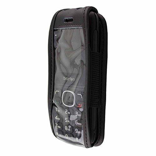 caseroxx Ledertasche mit Gürtelclip für Bea-fon Classic Line C60 aus Echtleder, Handyhülle für Gürtel (mit Sichtfenster aus schmutzabweisender Klarsichtfolie in schwarz)