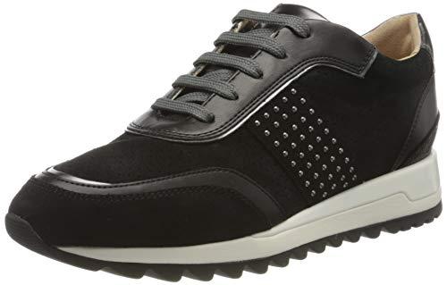 Geox Damen D TABELYA A Sneaker, Schwarz (Black/Gun C9b1g), 40 EU