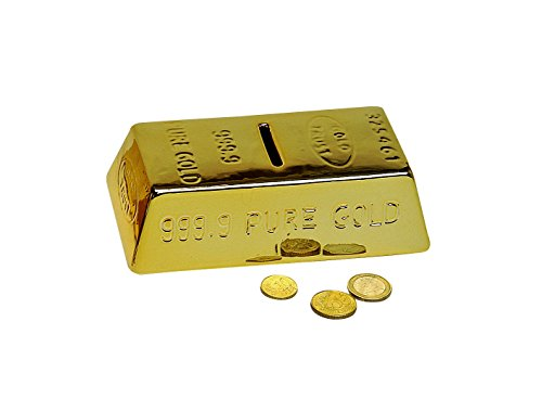 jakopabra Goldbarren Spardose Keramik/Sparbüchse Gold/Geldgeschenk verpacken/witzige Spardose