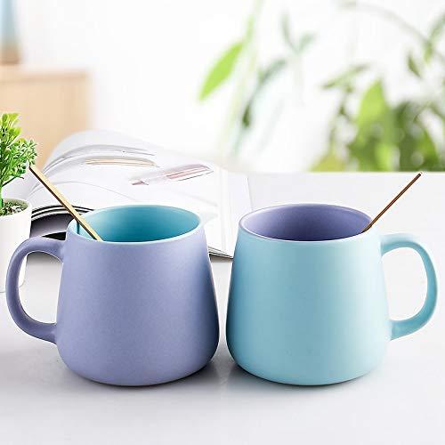 HAOQIANG Taza de ceramica Simple Taza de cafe Creativa nordica Taza de Leche para el Desayuno 530 ml El Estilo de Taza Incluye Dos cucharas de Oro
