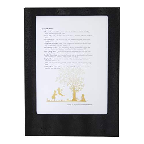 Securit® LED menukaart, verlichte oplaadbare kaart in lederlook voor 2 pagina's A4 papier of folie (A4), zwart