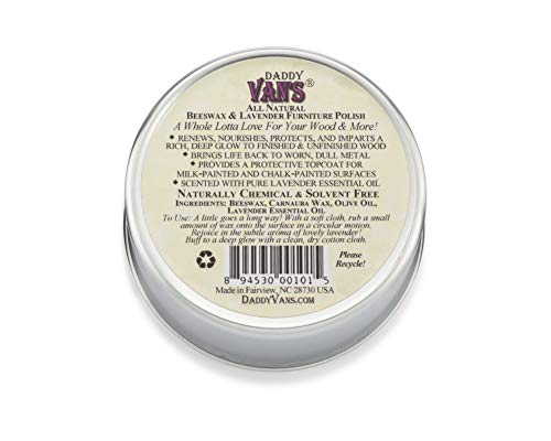 Daddy Van's All Natural Beeswax & Lavender Furniture Polish - Chemical-Free, Non-Toxic Wood Conditioner and Protectant Scented with Pure Lavender Essential Oil - One Tin