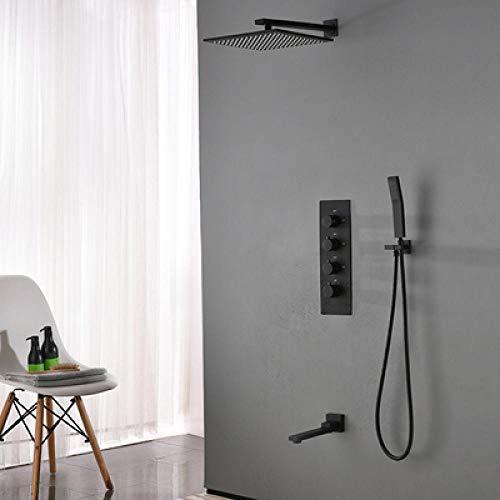Grifo termostático de ducha de baño grifo termostático de pared para bañera y juego de grifo de ducha negro mate style_2_chome,TW0WZLRO0HQF0